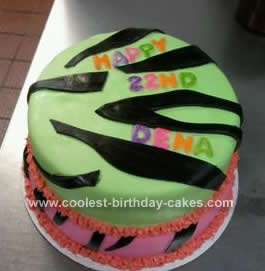 Homemade Neon Colored Zebra Print Cake