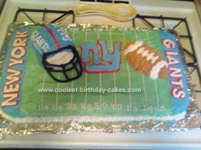 Homemade NY Giants Football Birthday Cake