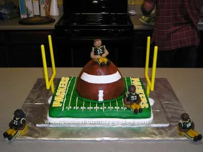 Homemade Packer Football Birthday Cake