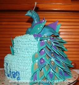 Homemade Peacock Birthday Cake