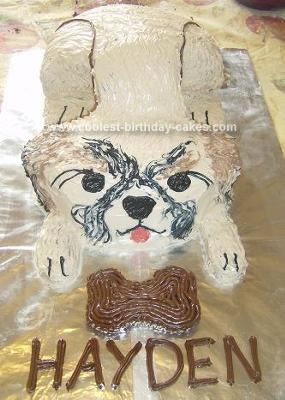 Homemade Pekingese Dog Cake
