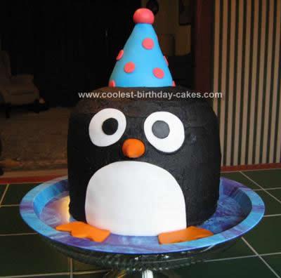 Homemade Penguin Birthday Cake Design