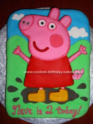 Homemade Peppa Pig jumping in Muddy Puddles Cake