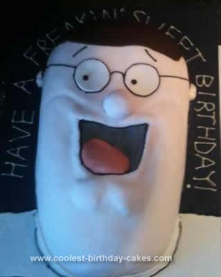 Homemade Peter Griffin Birthday Cake