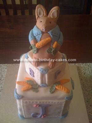 Homemade Peter Rabbit Baby Shower Cake