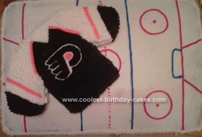 Homemade Philadelphia Flyers Birthday Cake