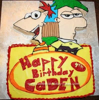 Homemade  Phineas and Ferb Cake Design