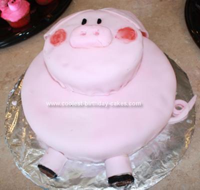 Homemade Piggy Birthday Cake
