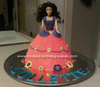 Homemade Pink and Purple Barbie Cake