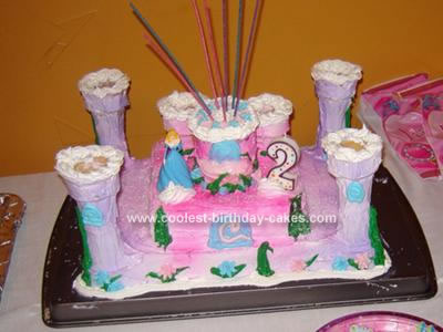 Homemade  Pink and Purple Princess Castle Cake