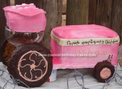 Homemade Pink Antique Tractor Cake