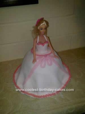 Homemade Pink Barbie Birthday Cake Design