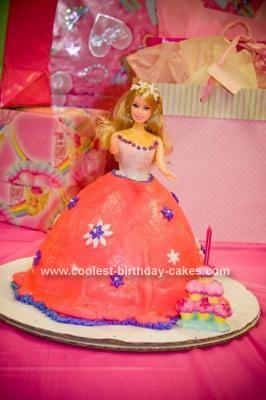 Homemade Pink Barbie Cake