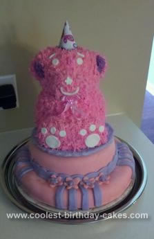 Homemade Pink Bear Cake for Coco's 2nd Birthday