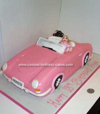 Homemade Pink Car Cake