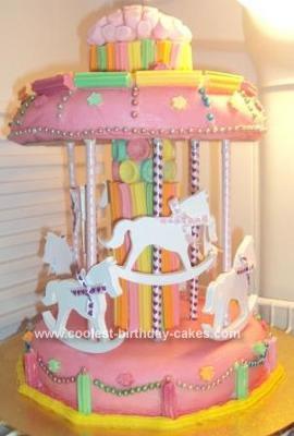 Homemade Pink Carousel Cake