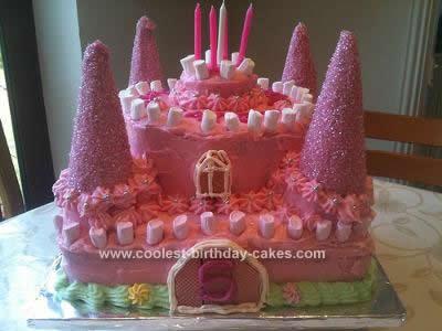 Homemade Pink Castle Birthday Cake