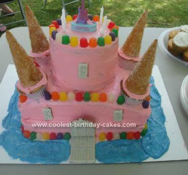 Homemade  Pink Castle Cake Design