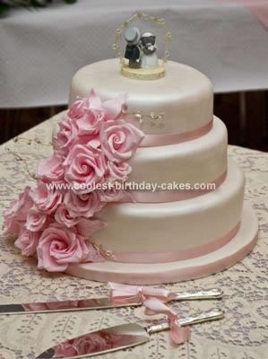 Coolest Pink Flower Wedding Cake