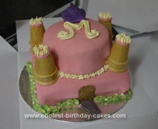 Homemade Pink Princess Castle Cake