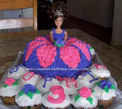 Homemade Pink & Purple Princess Barbie Cake