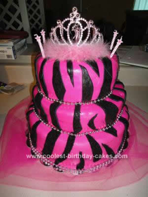 Homemade Pink Zebra Print Birthday Cake