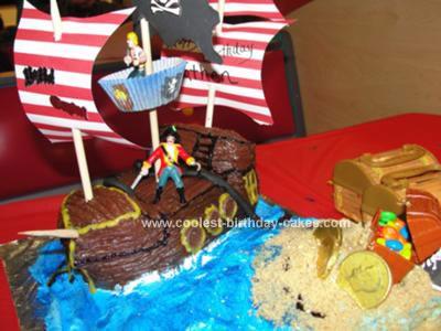 Homemade  Pirate Ship and Buried Treasures Cake