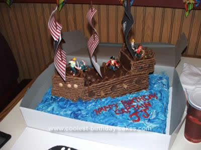 Homemade Pirate Ship Birthday Cake