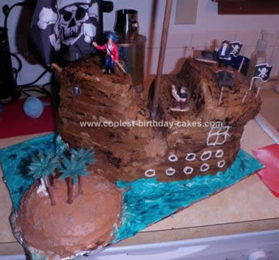 Homemade Pirate Ship Cake with Island Cake