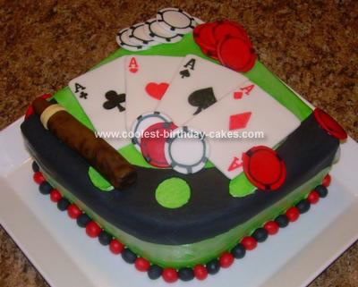 After I split and filled the cakes I put the Poker Table Birthday Cake in