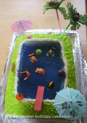 Homemade Pool Party Cake