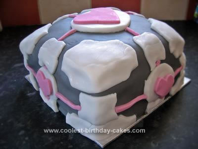 Homemade Portal Companion Cube Cake