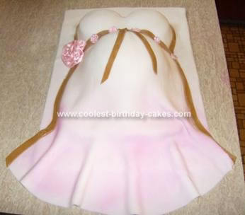 This Pregnant Belly Baby Shower Cake is my very first cake decorating ...
