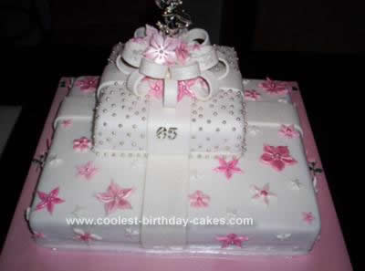 Homemade Prettiest Pink Gift Box Birthday Cake