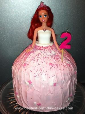 Homemade Princess Ariel Doll Birthday Cake
