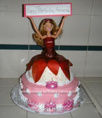 Homemade  Princess Barbie Cake