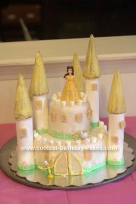 Homemade Princess Belle Castle Cake