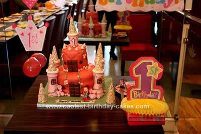 Homemade Princess Castle 1st Birthday Cake