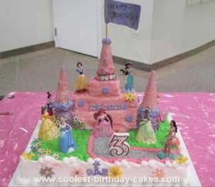 Homemamde Princess Castle Birthday Cake