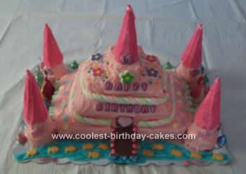 Homemamde Princess Castle Birthday Cake
