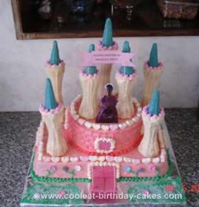 Homemade Princess Iman's Castle Birthday Cake