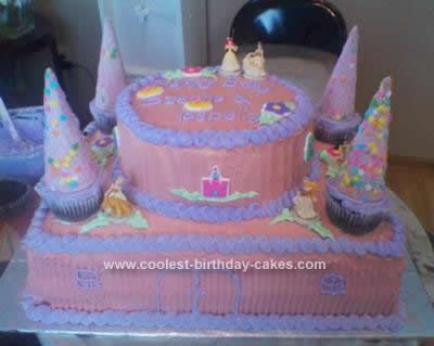 Homemade Princess on Castle Birthday Cake