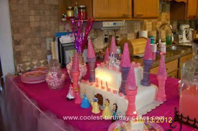 Homemade Princess Party Castle Cake