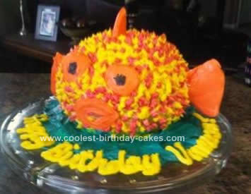 Homemade Puffer Fish Birthday Cake