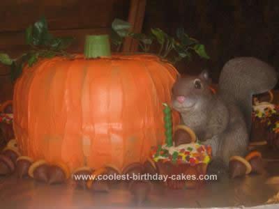 Homemade Pumpkin with Acorns Cake