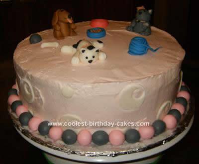 Homemade Puppy and Kitten Birthday Cake