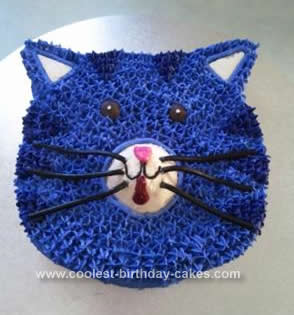 Homemade Purple Cat Face Cake