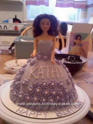 Homemade Purple Flower Barbie Cake