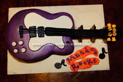Homemade Purple Guitar Cake