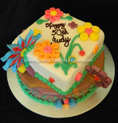 Homemade Quilled Fondant Flower Cake